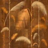Decoratieve tropische botanische bladeren - Binnenlands behang - houten textuur royalty-vrije illustratie