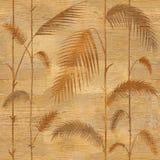 Decoratieve tropische botanische bladeren - Binnenlands behang - houten textuur vector illustratie