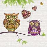 Decoratieve Uil Paar en liefde Stock Foto's