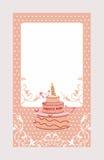 Decoratieve uitnodigingskaart met cake Stock Foto