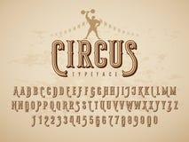Decoratieve uitstekende circuslettersoort op de achtergrond van de grungetextuur vector illustratie
