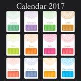 Decoratieve uitstekende kalender 2017 Oosters patroon Het vectormandalaontwerp kan voor affiche, banner, kaart worden gebruikt Stock Afbeelding