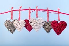 Decoratieve valentijnskaartharten Stock Foto