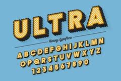 Decoratieve vector uitstekende retro lettersoort, doopvont, lettersoort Royalty-vrije Stock Foto