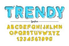 Decoratieve vector uitstekende retro lettersoort, doopvont, lettersoort Stock Fotografie