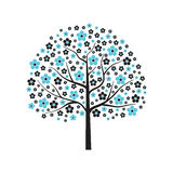 Decoratieve vectorboom in blauwe bloei Stock Afbeelding
