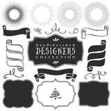 Decoratieve vectormalplaatjes en elementen voor ontwerp van emblemen Royalty-vrije Stock Foto's