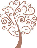 Decoratieve wervelings bloemenboom, vector Stock Afbeeldingen