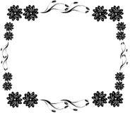 Decoratieve zwarte bloemgrens Stock Afbeelding