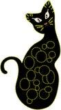 Decoratieve zwarte kat Stock Afbeelding