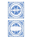 Decoratin buton faience vintage vector illustration. Decoratin buton faience blue color vintage vector illustration Royalty Free Stock Images