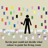 Decorating. Kevin could not decide what colour he preferred Stock Illustration