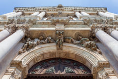 Decorating above the entrance to the church. Decorated entrance gate to the church in Venice Stock Images