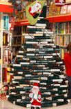 Decorating from books in bookstore. Festive decorating from books in bookstore, editoral royalty free stock photography