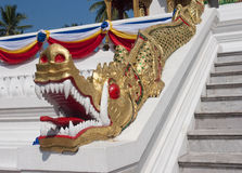 Decorating the Buddhist temple in the palace grounds in Luang Prabang Stock Images