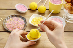 Decorating a cake pops Stock Images