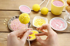 Decorating a cake pops Royalty Free Stock Photo