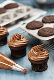 Decorating Chocolate Cupcakes with Frosting Stock Images