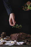 Decorating of christmas chocolate yule log. Decorating process of homemade Christmas chocolate yule log by woman's hands with holly branch over old wooden table Royalty Free Stock Photography