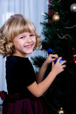 Decorating of Christmas tree Royalty Free Stock Photo