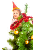 Decorating Christmas tree Royalty Free Stock Photography