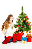 Decorating Christmas tree Royalty Free Stock Photos