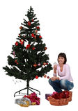 Decorating the Christmas tree. Studio shot of a young brunette decorating the Christmas tree against a white background Stock Image