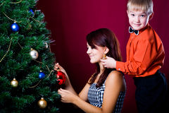 Decorating of Christmas tree Stock Photo