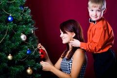 Decorating of Christmas tree Stock Photo