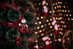Free Decorating Christmas Tree At Home. Ornament Close Up On Background Of Christmas Tree With Colorful Lights And Toys, Copy Space For Stock Images - 101644104
