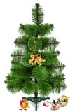 Decorating of the Christmas tree and broken toys, isolated on a Royalty Free Stock Photo