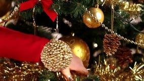 Decorating Christmas tree close-up stock video footage