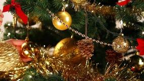 Decorating Christmas tree close-up stock footage