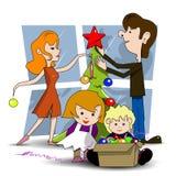 Decorating Christmas tree. Illustration family decorates Christmas tree before the holiday Stock Photo