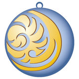 Decorating for Christmas trees. Blue ball with pattern Royalty Free Stock Photo