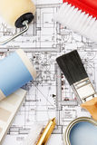 Decorating Components Arranged On House Plans Stock Photography