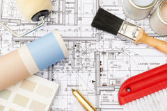 Decorating Components Arranged On House Plans Stock Image