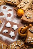 Decorating cookies surrounded by nuts. And gingerbread Royalty Free Stock Photos