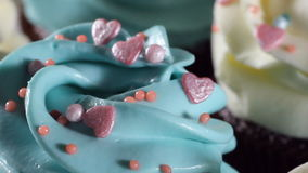 Decorating cup-cake with cream. Culinary master class design cupcakes, cream cupcakes from the pastry bag. Using cooking stock footage