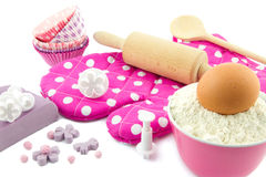Decorating cup cakes Stock Image