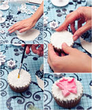 Decorating a cupcake. Collage with cupcake decoration steps- cutting fondant shape, fixing flower royalty free stock photo