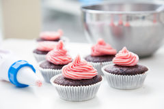 Decorating Cupcakes Stock Photos