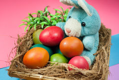 Decorating Easter bunny and colorful Easter eggs. Royalty Free Stock Photos