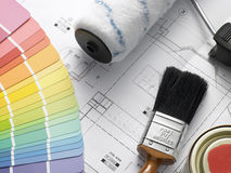 Decorating Equipment On House Plans Royalty Free Stock Photography