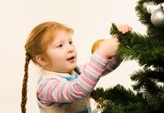 Decorating fir tree Stock Photos