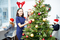 Decorating fir-tree Stock Images
