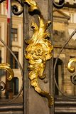 Decorating for gate. Decorating on a metal gate gate, detail gate to prague castle Royalty Free Stock Photos