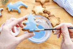 Decorating gingerbread cookies with blue and white icing. Royalty Free Stock Image