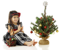 Decorating Her Own Tree Stock Photos