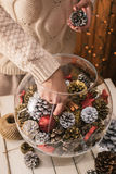 Decorating home for Christmas Stock Images